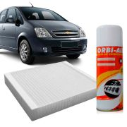 Filtro do Ar Condicionado Cabine Gm Meriva 1.8 8V 16V 2003 em diante Gasolina 1.4 1.8 8V 2004 em diante Flex + Higienizador