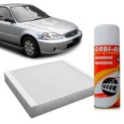 Filtro do Ar Condicionado Cabine Honda CRX 1.6 16V 1992 a 1997 CRV 2.0 16V 2000 a 2006 2.4 16V 2002 a 2003 Civic 1.6 16V 1997 a 2000 + Higienizador