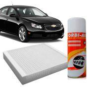 Filtro do Ar Condicionado CabineGm Cobalt 1.4 Econo Flex Cruze 1.8 16V Flex Onix Prisma Sonic 2011 a 2015 + Higienizador