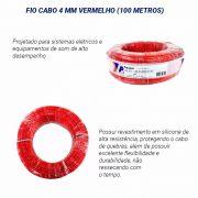 Fio Flexível para Sonorização Profissional de Alta Potência 4 mm 50 Metros Cristal Vermelho
