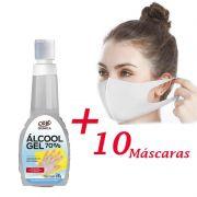 Kit 10 Máscaras de Proteção e Segurança Lavável em Tecido Branco + Álcool Gel 70% Antisséptico e Higienizador de Mãos 500g