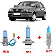 Kit Lâmpadas Super Branca H1 + H3 + H7  Volkswagen Gol G3 Farol Duplo