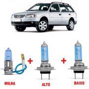 Kit Lâmpadas Super Branca H4 + H3 Volkswagen Parati G2 G3 Farol Simples