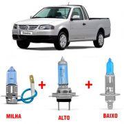 Kit Lâmpadas Super Branca H1 + H3 + H7 Volkswagen Saveiro G3 Farol Duplo