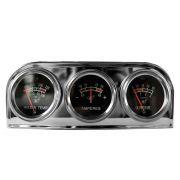Kit Manômetro Trio de Relógio Cromado Temperatura de Água Amperímetro e Pressão Do Óleo