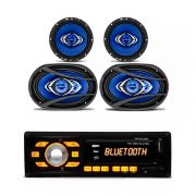 Kit Rádio Player Mp3 Usb Bluetooth + Alto Falante 6 Pol 65W Rms + Alto Falante 6x9 Pol 90W Rms