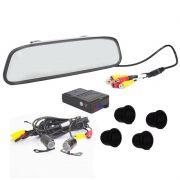Kit Sensor de Estacionamento e Camera de Ré com Espelho Retrovisor 4,3 POL Preto