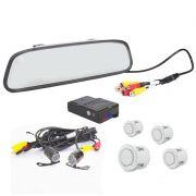 Kit Sensor de Estacionamento e Camera de Ré com Espelho Retrovisor Branco