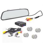 Kit Sensor de Estacionamento e Camera de Ré com Espelho Retrovisor Prata