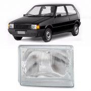 Lente do Farol Principal Fiat Uno Premio Elba 1985 a 1990 Esquerda