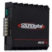 Módulo Amplificador SounDigital SD400 2D2 EVO 400W RMS  2 Canais 2 Ohms