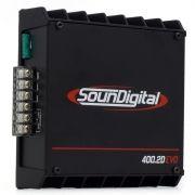 Módulo Amplificador SounDigital SD400.2D EVO 2 Black 522 Watts RMS 1 Ohm