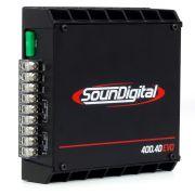 Módulo Amplificador SounDigital SD400.4D4 EVO 400W Rms 4 Canais 4 Ohms