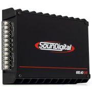 Módulo Amplificador SounDigital SD800 4D2 EVO 800W RMS 4 Canais 2 Ohms