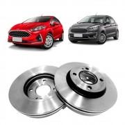 Par Disco de Freio Dianteiro Ventilado sem Cubo Ford Ka Aro 14 2014 em diante New Fiesta Hatch Sedan 2011 a 2013