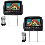 Par Encosto de Cabeça Kx3 Tela LCD 7 Dvd Usb Sd Com Controle Joystick Preto