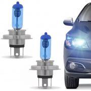Par Lâmpada Automotiva H4 12V 55W 8500K Azulado
