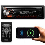 Rádio Automotivo Player Pioneer 1 Din Bluetooth USB AUX RCA FM MP3 WMA Smartphone Mixtrax