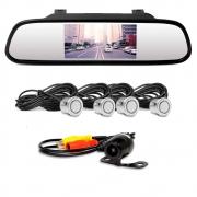 Retrovisor LCD com Câmera de Ré e Sensor de Estacionamento Prata