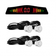 Sensor de Estacionamento Branco com Display e Aviso Sonoro