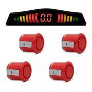 Sensor de Estacionamento Com Display KX3 4 Pontos Universal Cor Vermelho