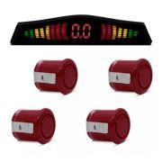 Sensor de Estacionamento Com Display Universal KX3 4 Pontos Cor Vinho