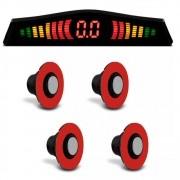 Sensor de Estacionamento Embutido KX3 4 Pontos Prata Universal com Display de LED