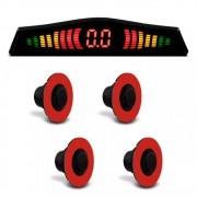 Sensor de Estacionamento Embutido KX3 4 Pontos Preto Brilho Universal com Display de LED