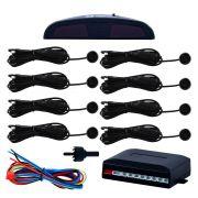 Sensor de Estacionamento Ré Eletrônico Tiger 8 Pontos Preto Universal