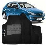 Tapete Automotivo Personalizado Carpete Peugeot 206 99 até 10 Preto Jogo 4 peças