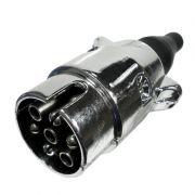 Tomada Elétrica Macho para Engate de Reboque 6 Polos Alumínio Preto