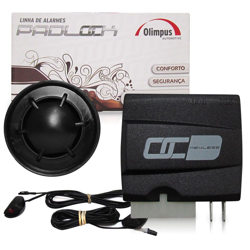 Alarme Automotivo Olimpus Padlok Keyless para Carros com Chaveador Original  - AutoParts Online