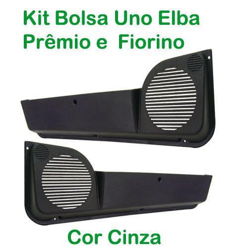 Kit Bolsa de Porta ? Uno 1984 até 2010/Premio/Elba 1985 até 1996/ Fiorino 1987 até 2010 - Cor Cinza(c/kit fixação)  - AutoParts Online