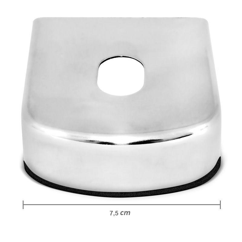 Chapa Engate de Reboque 75mm Inox Acabamento Cromado  - AutoParts Online