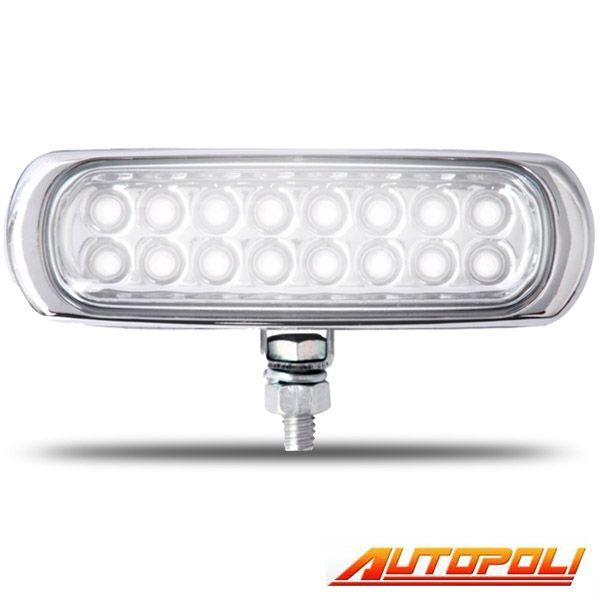 FAROL AUXILIAR COM 16 LED SUPER BRANCO 12V RETANGULAR/SLIM CORPO CROMADO = AP936  - AutoParts Online