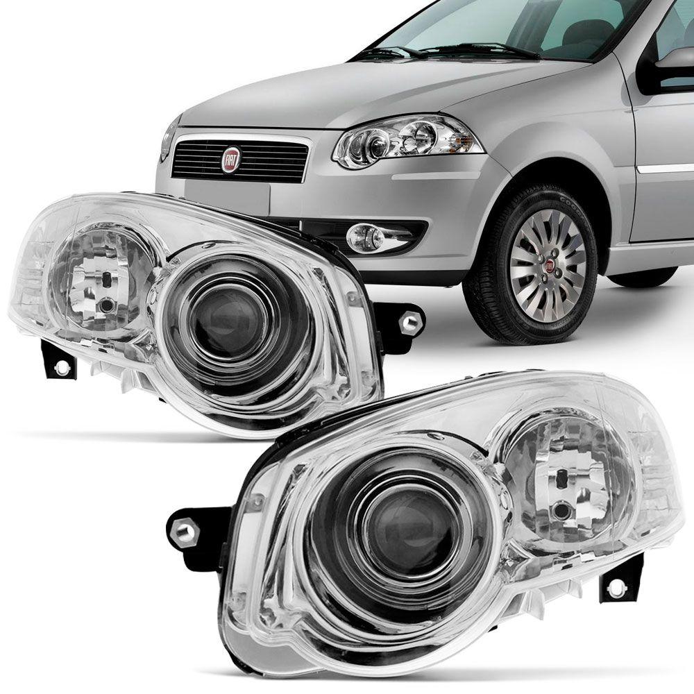 Farol Principal Fiat Palio 2010 a 2011 Siena 2008 a 2011 Cromado Lado Esquerdo  - AutoParts Online