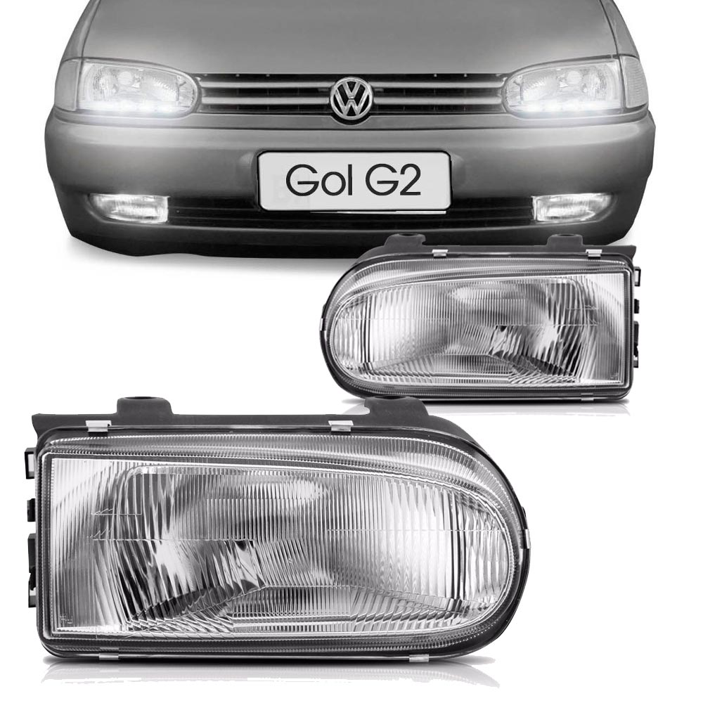 Vw gol/parati/saveiro 95/99 - farol modelo original c/moldura cromada ld lentes termoplasticos   - AutoParts Online