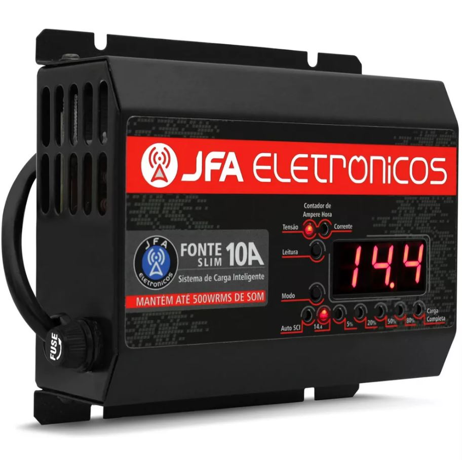 Fonte Automotiva JFA 10A Slim 140W Bivolt com Display Voltímetro e Amperímetro  - AutoParts Online