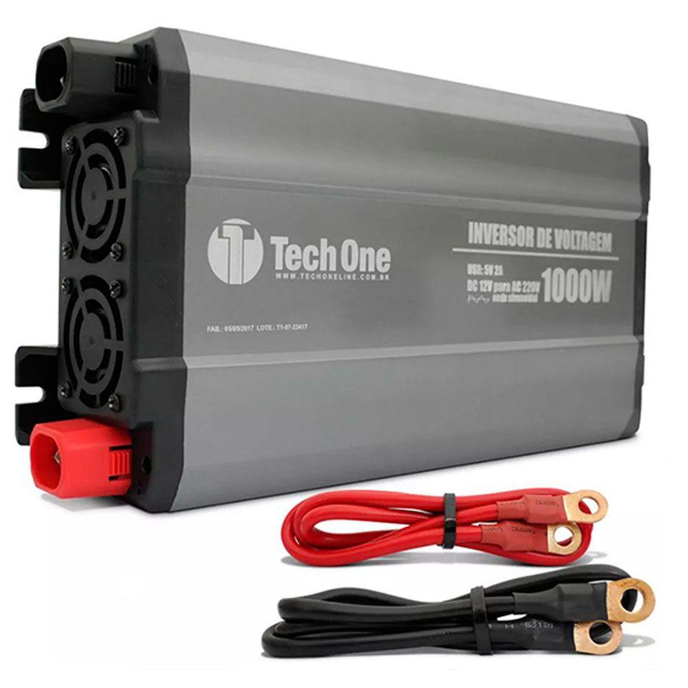 Inversor de Voltagem TechOne 1000W 12V 220V Conversor Tomada Usb  - AutoParts Online