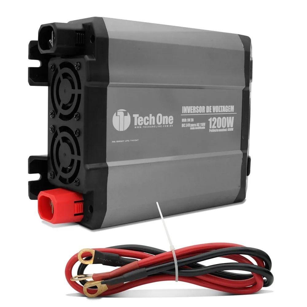 Inversor de Voltagem TechOne 1200W 12V 220V Conversor Tomada Usb  - AutoParts Online