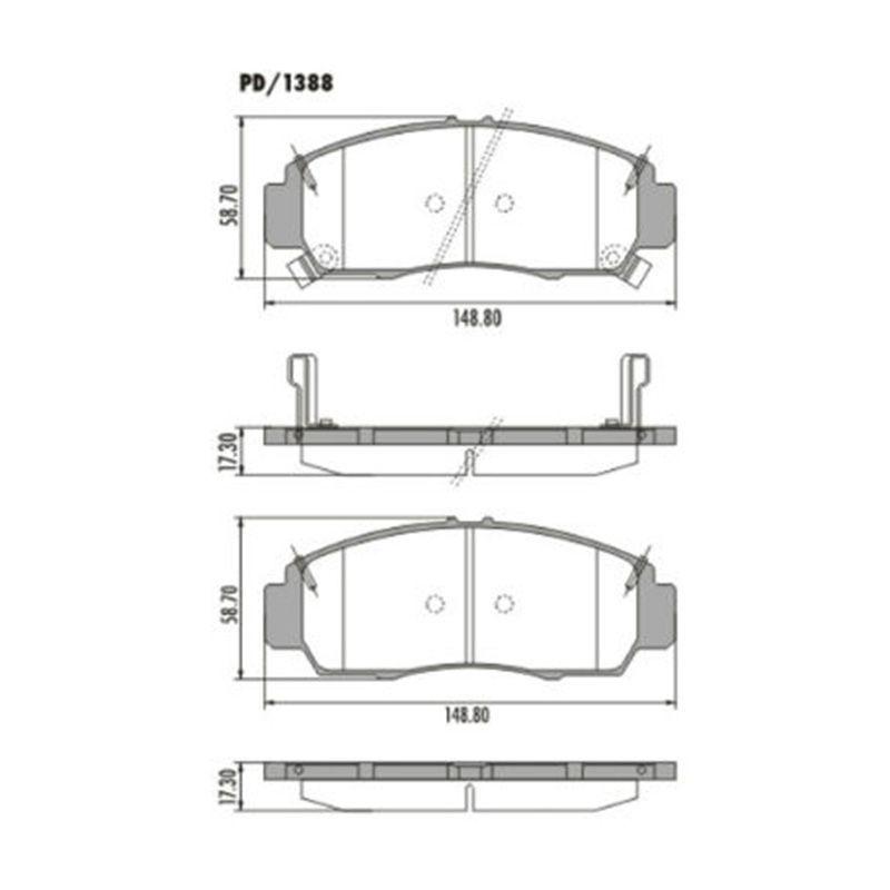 Jogo Pastilha de Freio Dianteira Honda Accord 3.5 Ex V6 24V 2008 em Diante Accord LX 2008 em Diante Civic 1.8 GX 2006 em Diante New Civic 1.8 2007 em Diante 2.0 2013 em Diante  - AutoParts Online