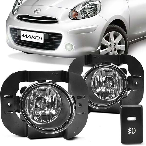 Kit auxiliar nissan march interruptor sistema original, lampada e chicote 2010/...
