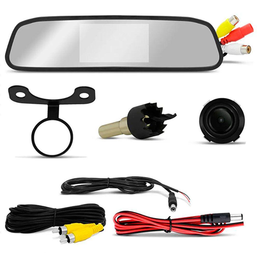 Kit Espelho Retrovisor Tech One LCD 4,3 Pol Com Câmera de Ré 2x1  - AutoParts Online