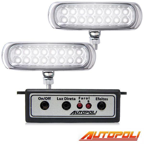 Kit Farol Milha Autopoli Ap960 Strobo Safetycar 16 Leds Luz cor Super Branco  - AutoParts Online