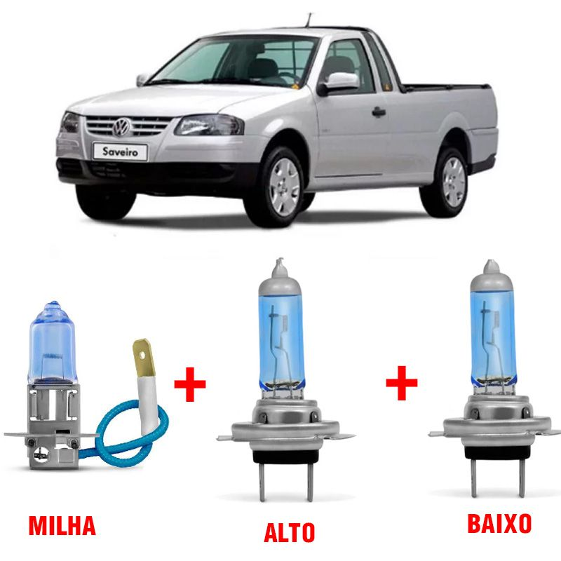 Kit Lâmpadas Super Branca H4 + H3 Volkswagen Saveiro G2 G3 Farol Simples  - AutoParts Online