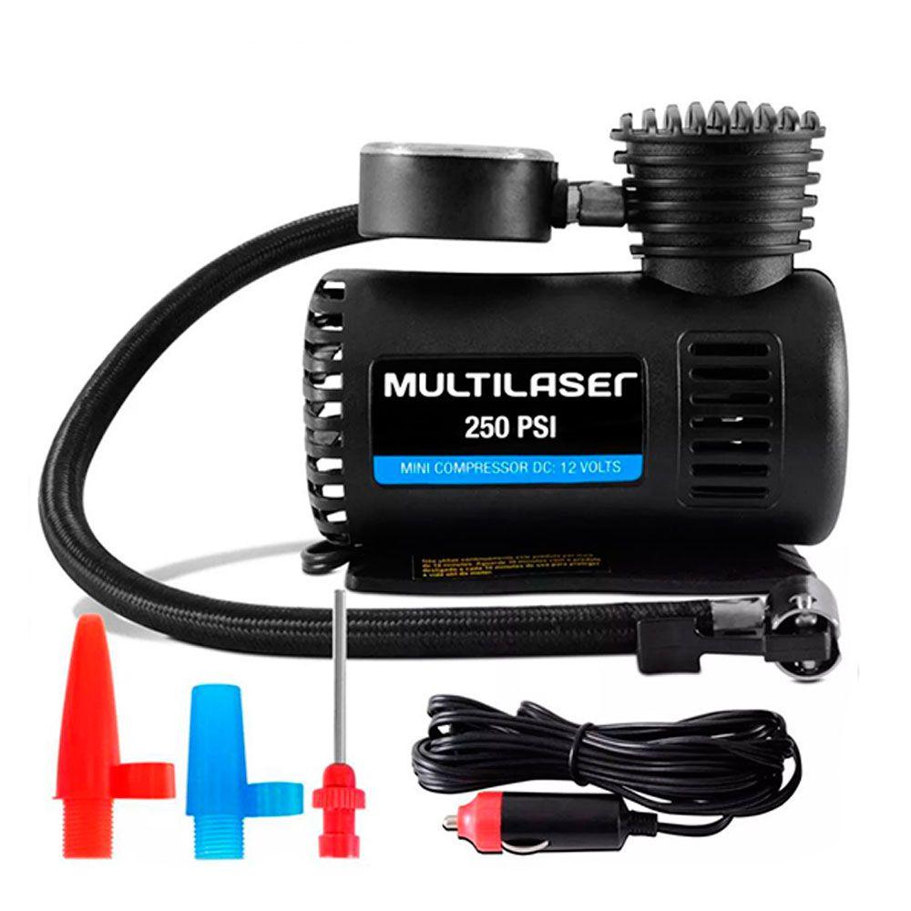 Mini Compressor de Ar Automotivo Multilaser Compacto 12V 250 PSI Preto  - AutoParts Online