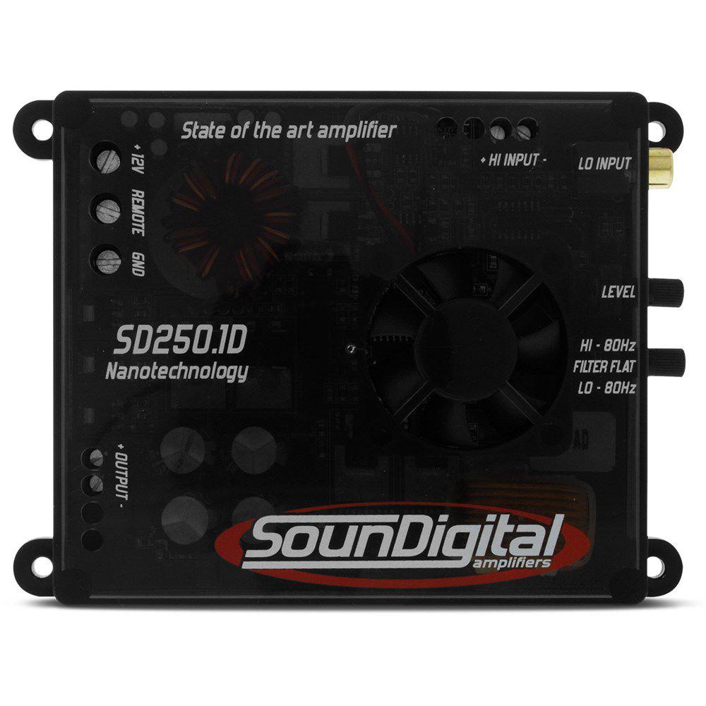 Módulo amplificador SounDigital SD250.1D Mini (1x250W RMS 1ohm) + Brinde 1 Cabo RCA de 5m  - AutoParts Online