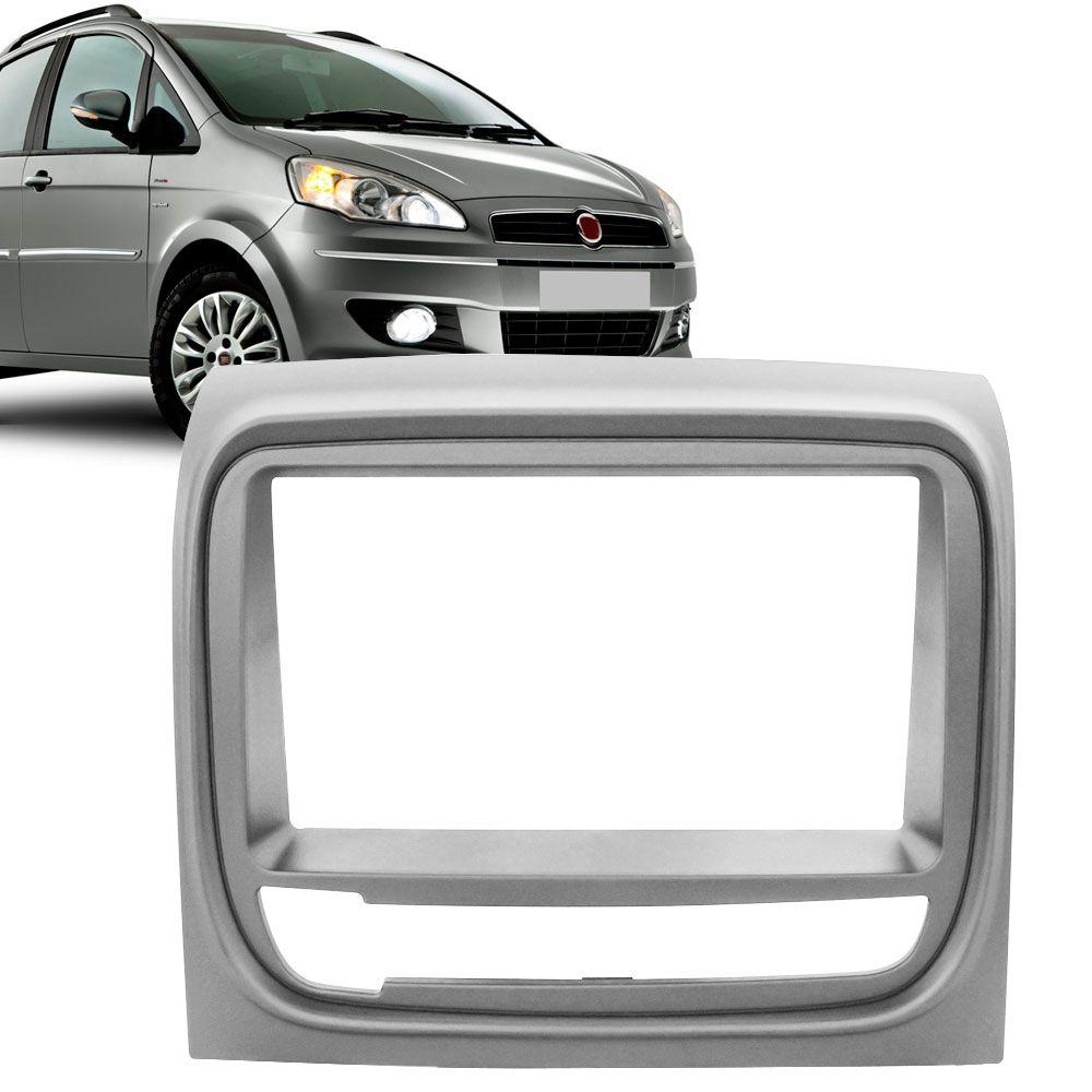 Moldura Painel 2 Din Fiat Idea Adventure 2013 Prata  - AutoParts Online