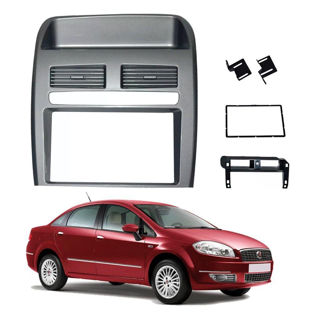Moldura Painel 2 Din Fiat Linea 2008 a 2014 Grafite  - AutoParts Online