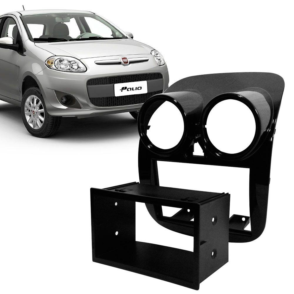 Moldura Painel 2 Din Fiat Palio 2014 Black Piano  - AutoParts Online